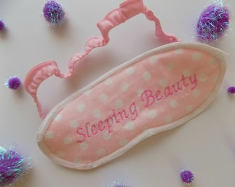 SUPER CLEARANCE! Sleeping Beauty Pink Polka Dot Sleep Mask. Disney Sleep/Eye Mask. Flannel Sleep Mask. Gift. Travel Accessory.
