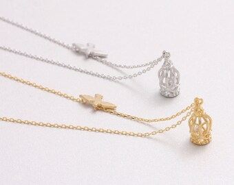 Fly Away Bird with Cage Charm Necklace