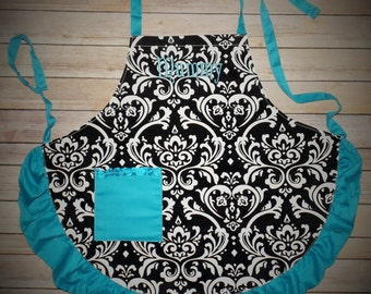Monogrammed damask apron, Personalized Gift,  personalized aprons, aprons, womens aprons, cooking aprons, baking aprons, monogram aprons