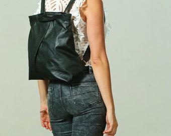 Black Leather Boho Woman BackPack, Leather BackPack with top handle, Black Designer Backpack, Casual Backpack, Elegant Evening Backpack