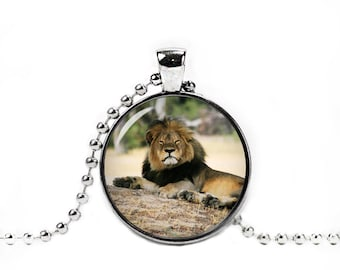 Cecil the Lion Glass Pendant Cecil Lion Necklace Lion Jewelry Lion Necklace