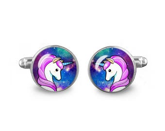Unicorn Cuff Links Unicorn Kawaii Cufflinks 16mm Wedding Cufflinks Gift for Men Groomsmen Good Luck Cuff links