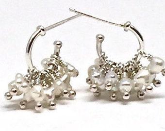 Pearl Cluster Hoops Pearl Beaded Hoop Earrings Pearl Cluster Huggies Silver Huggies Womens Gift for Her Keshi Pearl Hoops June Birthstone