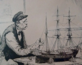 Gordon Grant   Framed, Matted and Signed vintage Lithograph  entitled        The Shipbuilder