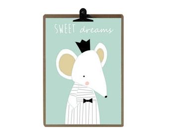 Mouse nursery print - Green color Nursery art prints - baby nursery decor - nursery wall - Children Art - Kids Room