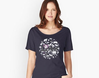 Love All Creatures - White Silhouettes, Women's Relaxed Fit Short-Sleeve Tshirt