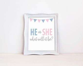 "He Or She What Will It Be 8""x10"" Printable Sign 