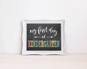 "First Day Of Kindergarten Chalkboard Sign || 8""x10"" DIGITAL DOWNLOAD First Day Of School Chalkboard Printable 