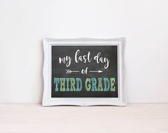 "Last Day Of Third Grade Chalkboard Sign    8""x10"" DIGITAL DOWNLOAD Last Day Of School Chalkboard Printable    Third Grade Chalkboard Sign"