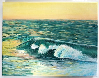 """Ocean Wave Water Acrylic Painting, 11"""" x14"""""""