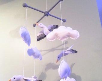 Baby mobile-Cloud mobile-seagull mobile- bird mobile- baby mobile-felt mobile-hanging cloud