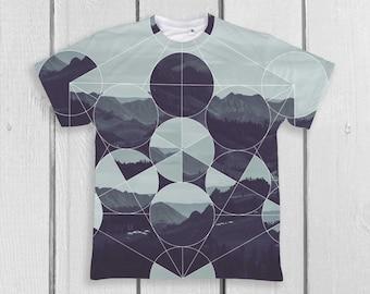 Geometric Shirt Casual Scandinavian print Abstract Modern shirt Original painting Forest print Wilderness Nature prints Mountain PA1134