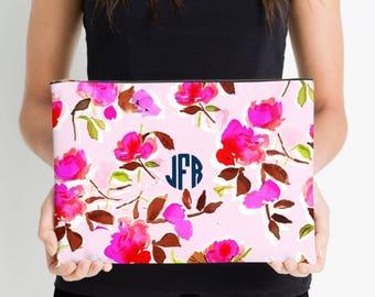Dizzy Pink Floral Monogrammed Flat Zip Pouch