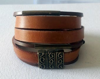Boho Brown leather wrap bracelet with copper color magnetic ornament closure and copper tubes