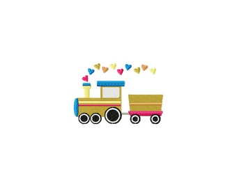 PES, valentines day embroidery design, boy valentine embroidery design, train embroidery design, hearts embroidery design, valentine train
