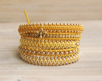 Yellow bee wrap bracelet, yellow bracelet, gold bee bracelet, beaded wrap bracelet, for her