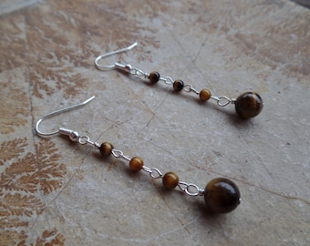 Handmade Wire Wrapped Brown Tigers Eye Silver Earrings Drop Dangle - Gifts for Her - 8mm & 4mm Beaded Earrings