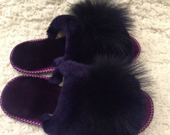 Warm slippers ,Womens slippers,Sheepskin cozy ,Home shoes,Sheepskin slippers,Gift for her,Purple slippers,Organic shoes