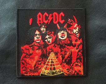 "ACDC (Highway to Hell) iron-on embroidered patch (aprox. 3"" x 3"")"