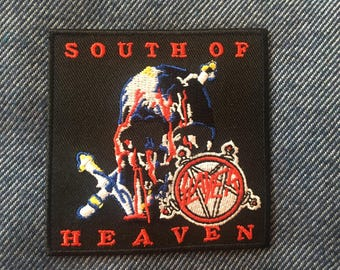 "Slayer (South of Heaven) iron-on embroidered patch (aprox. 3"" x 3"")"