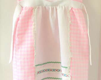 Vintage Pink White Plaid Traditional Child's Swiss Dress