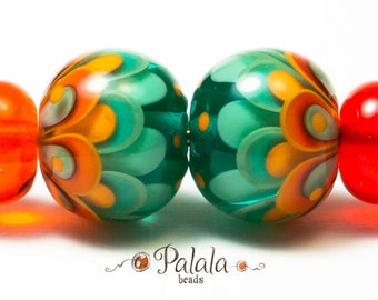 Pair of urquoise and tangerine Lampwork Glass Beads for earrings