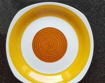 Two Sideplates Stina by Gefle Swedish Vintage handpainted Retro from the 60s Designed by Helmer Ringström