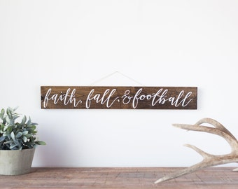 Faith, fall, & football wood sign | Rustic fall sign | Barn wood autumn sign | Fall décor