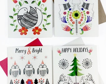 Christmas Card Set, Holiday Cards, Set of 4, 8, or 16 Cards, Scandinavian Christmas Cards, Christmas Card Pack