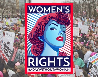 Women's March 8th. Women's Rights. International women's day. Poster. Wall art print.Gift. Girl Power. Revolution. Feminism. Feminist