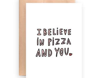 Encouragement card / I believe in you card / printable card / instant download / foodie card / funny card / pizza card / card for anyone