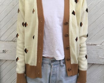 Vintage Off White Cardigan with Diamond Detail