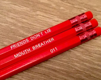 PENCILS: Stranger Things Pencil Set, 3 Engraved Quote Pencils, Affordable Stationery Gift, Writing Supplies! School & Office Supplies