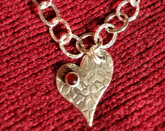 Heart charm sterling silver bracelet with garnet. Handmade.