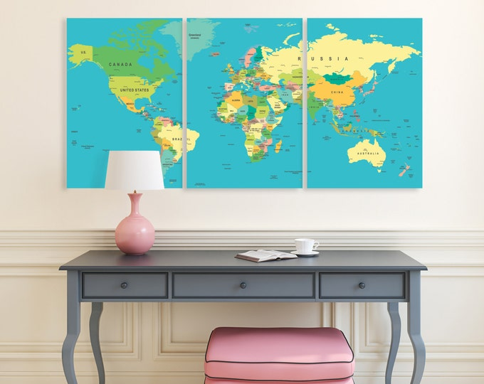 Large push pin world map with country names, travel map with pins, on