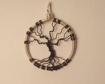 Black and Silver Dead Tree Pendant