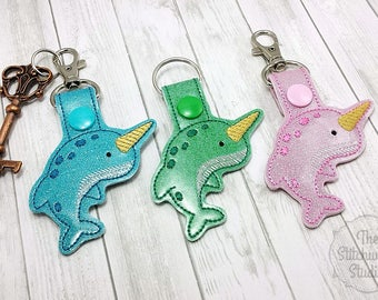 Ready To Ship! Narwhal Keychain - Key Fob - Glitter