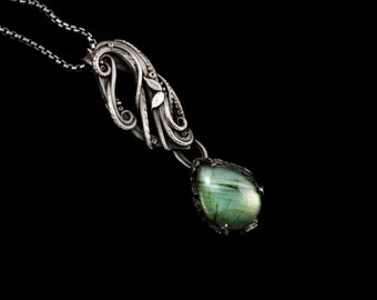 Fine silver pendant with green labradorite gemstone - Faerie Forest  // gift for her // Christmas