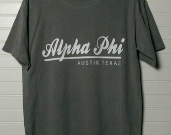 Alpha Phi 118 City Shirt Comfort Color TShirt, Short Sleeve or Long Sleeve