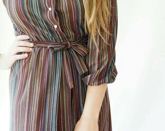 Colorful Pinstriped Belted Dress with White Collar