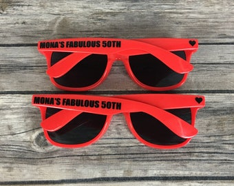 Fabulous 50th ADULT Personalized Sunglasses, Fiftieth Birthday Party Favor, High Quality Favor, Classy 50th Birthday Party, Red Heart Shades