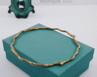 Twig Bangle Bracelet   Solid Bronze   Branch Bangle Bracelet   Bangle