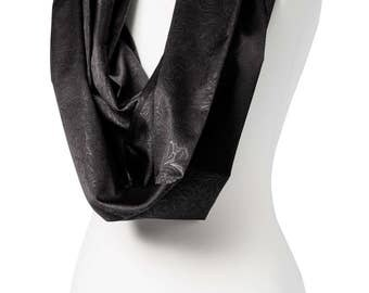 BUY 2 GET 1 FREE - Handmade, Shiny Black Floral Print Infinity Scarf