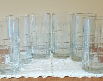 Vintage Clear Anchor Hocking Drinking Glasses~Anchor Hocking Tartan Clear Tumblers~6 Clear Ice Tea Drinking Glasses~Clear Drinking Glasses