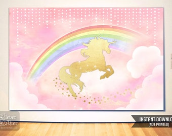Unicorn Backdrop Instant Download Unicorn and Rainbow Poster Background magical horse back drop birthday party mood setter pink and gold