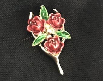 Vintage Gerrys Rose Wishbone Brooch