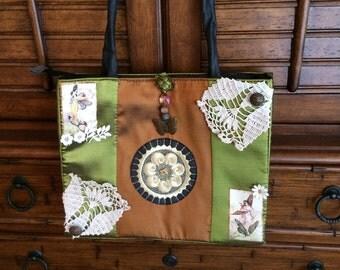 Altered purse/handbag, fairy purse, embellished tote, doily purse, shoulder handbag