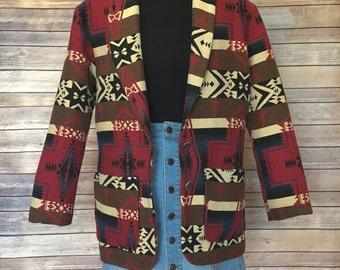 Aztec Coat | Blanket Coat | Navajo Jacket | Tribal Print | Festival Jacket | Boho Jacket | Southwestern Blanket | Native American Jacket