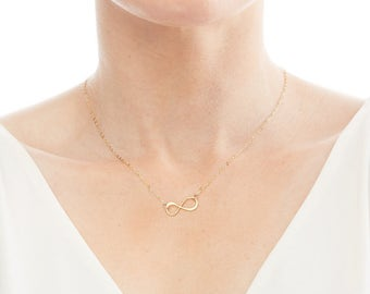Infinity Necklace - Forever Love- BFF Friendship-Mothers Infinite Love-Dainty-Delicate-Simple Chic-Gold Filled & Sterling Silver - CG264N