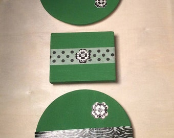 Set of 3 Green Wooden Magnets (12)
